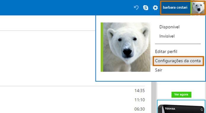 Acesse as configurações da sua conta no Outlook.com (Foto: Reprodução/Barbara Mannara)