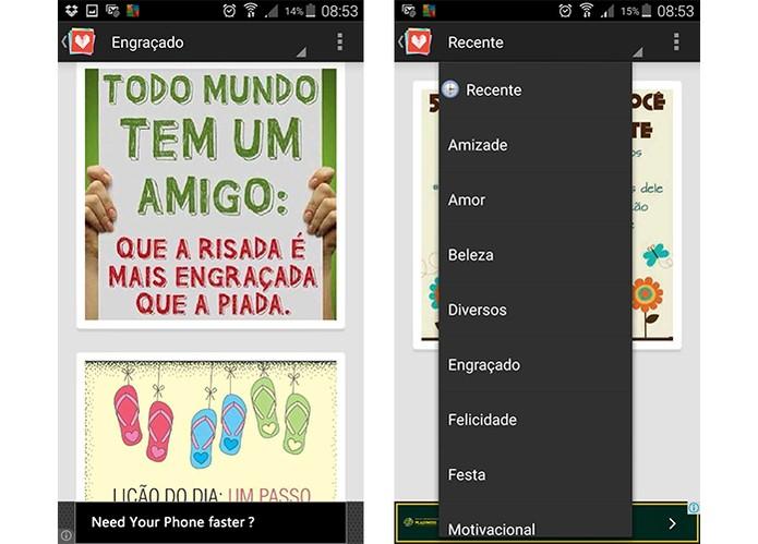 Aplicativo oferece mensagens com recados temáricos (Foto: Reprodução/Barbara Mannara)