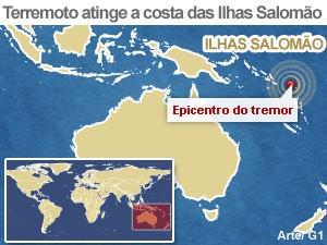 mapa terremoto ilhas salomão (Foto: Arte/G1)