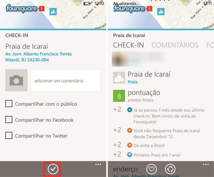 Foursquare para Windows Phone apresenta check-in fácil e rápido a partir da realidade aumentada (Foto: Reprodução/Elson de Souza)