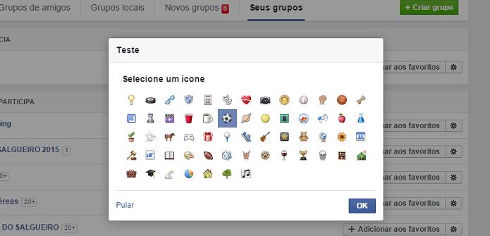 Adicione um ícone ao seu novo grupo no Facebook (Foto: Aline Jesus/Reprodução)