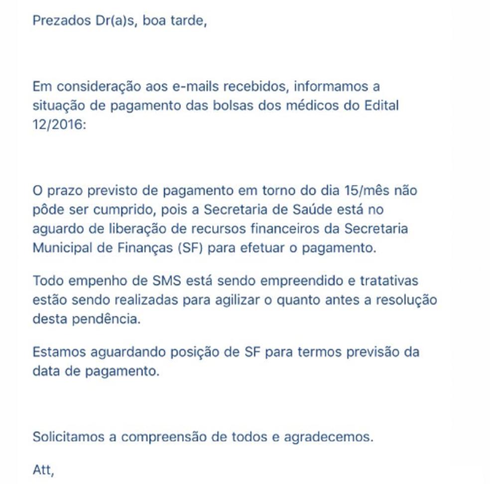 Email recebido por médicos fala que Secretaria de Saúde aguarda liberação de recursos (Foto: Arquivo pessoal)