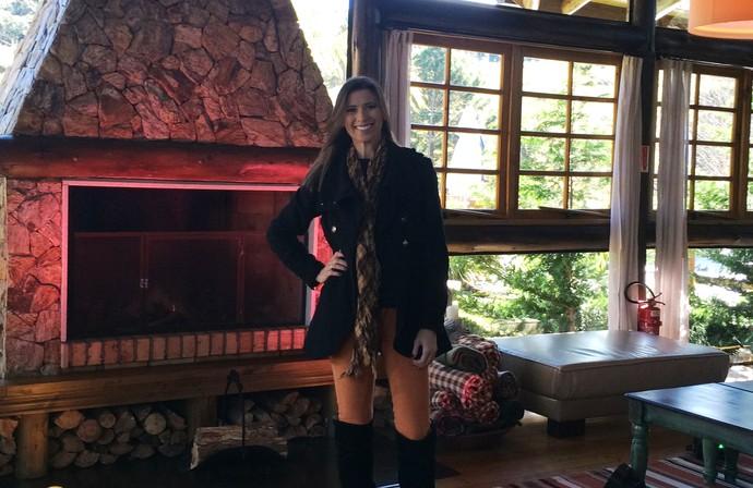Mistura foi para Rancho Queimado trazer o clima de inverno para os telespectadores (Foto: RBS TV/Divulgação)