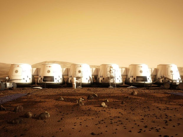 Ilustração mostra como seria o abrigo dos turistas que viajariam até Marte com a Mars One (Foto: AFP)