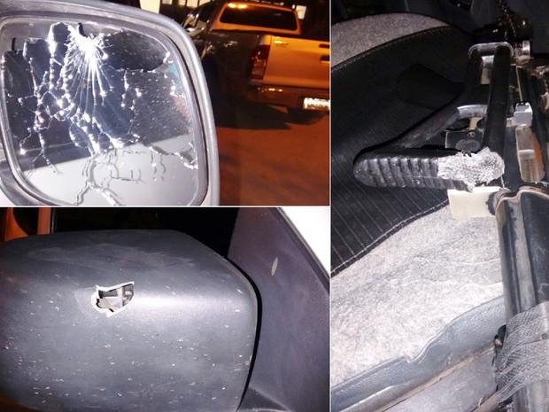 Tiros efetuados pelo suspeito atingiram o retrovisor do carro e a coronha da arma de um dos policias (Foto: PM/Divulgação)