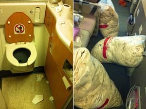 Imagens mostram a situação do banheiro e da cabine após o desembarque de passageiros (Foto: Flávia Mantovani/G1)