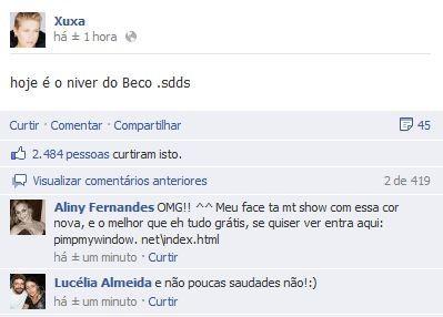 A mensagem deixada por Xuxa no Facebook (Foto: Reprodução/ Facebook)
