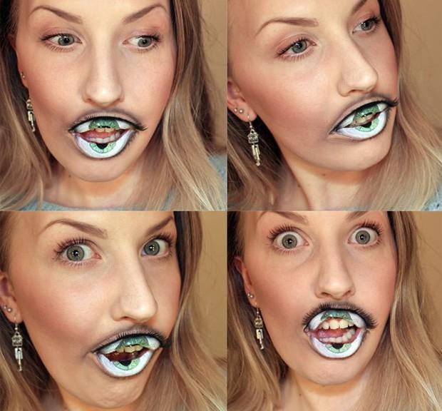 """maquiadora sueca Sandra Holmbom, conhecida também como """"psycosandra"""", é especializada em trabalhos que envolvem ilusões de ótica, e apresentou recentemente uma maquiagem que lembra um olho, só que feita na boca de uma modelo (Foto: Reprodução)"""