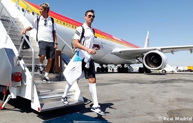 Cristiano Ronaldo desembarca nos EUA (Foto: Site oficial do Real Madrid)