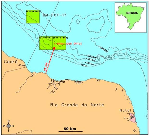 Área retangular na cor verde mostra a localização do poço que descobriu petróleo na Bacia Potiguar (Foto: Divulgação/Petrobras)