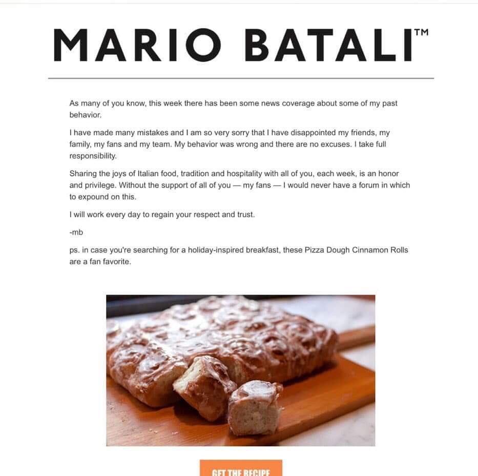 Pedido de desculpas de Mario Batali  (Foto: Reprodução)