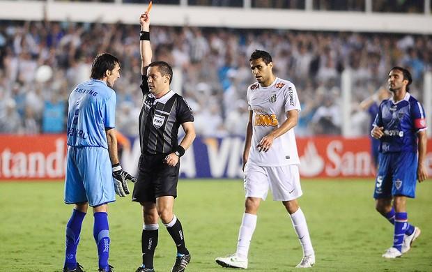 Goleiro do Velez expulso, Santos x Velez (Foto: Marcos Ribolli / Globoesporte.com)