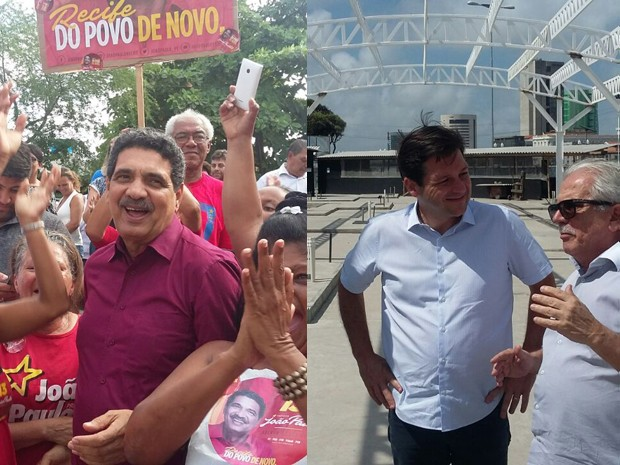 João Paulo e Geraldo Julio em campanha no Recife (Foto: Bruno Marinho/G1)