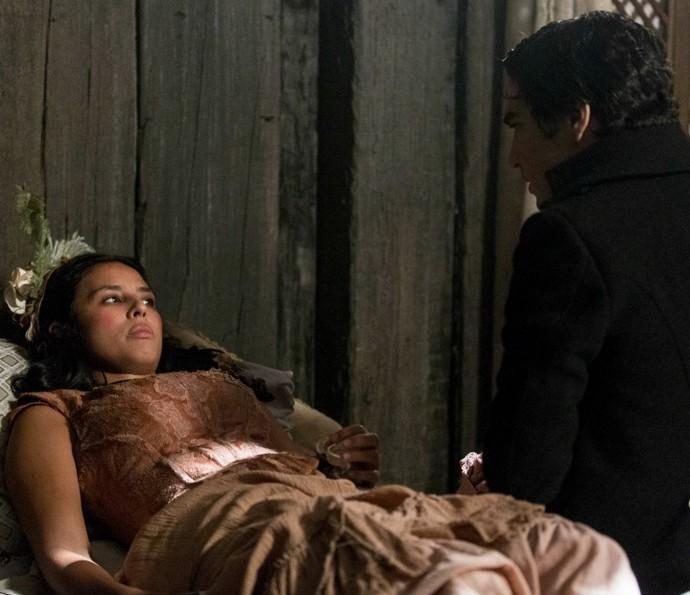 Mimi revela que está grávida para André (Foto: Ellen Soares/TV Globo)