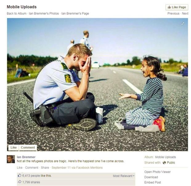 Fotos de um policial dinamarquês brincando com uma menina se espalharam pelo Facebook, Twitter e Reddit, e incentivaram discussões animadas (Foto: BBC)