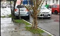 Esquina da Rua Marechal Deodoro com a Rua Rafael Pinto Bandeira causa transtornos (Reprodução/RBS TV)