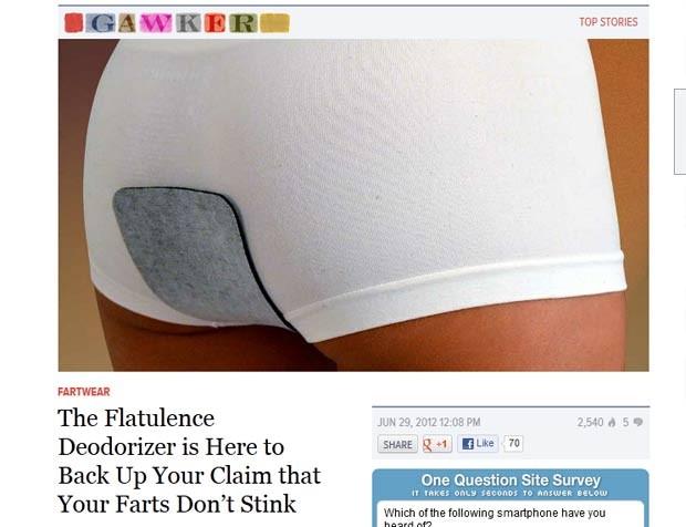 'Flatulence Deodorizer' funciona como um filtro que elimina o cheiro quando a pessoa solta gases. (Foto: Reprodução)
