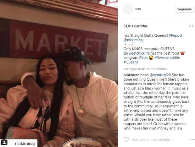Nicki Minaj e Nas (Foto: Reprodução/Instagram)