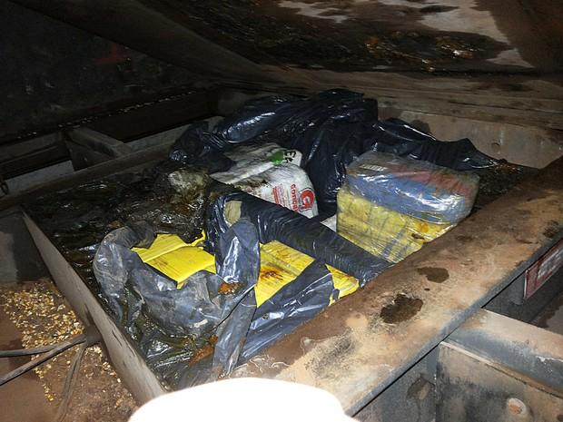 Droga foi encontrada em um fundo falso de um caminhão com placas de Rondônia (Foto: Divulgação/PF)