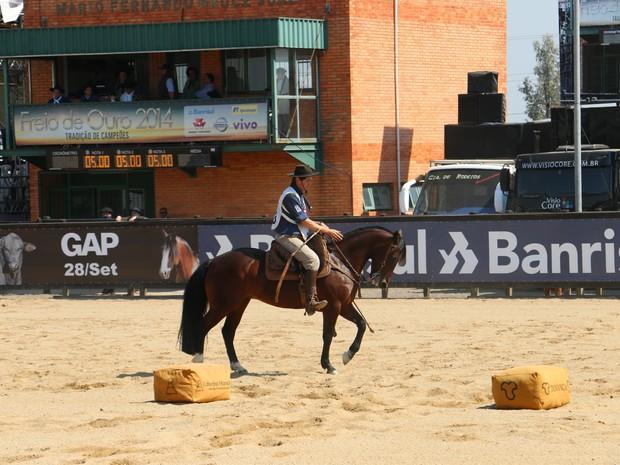Ginete conduz cavalos na etapa do Freio de Ouro nesta sexta (Foto: Felipe Truda/G1)