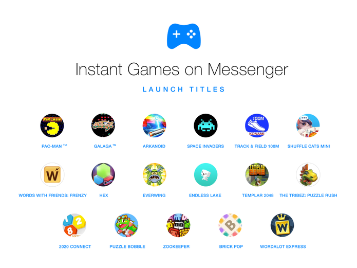 Jogos disponíveis para Android e iOS (iPhone) no Facebook Messenger (Foto: Divulgação/Facebook)