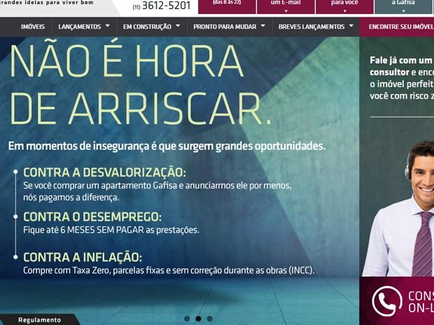 Campanha 'Risco Zero', exposta no site da construtora Gafisa', busca estimular compras em meio a cenário econômico desfavorável (Foto: Reprodução)
