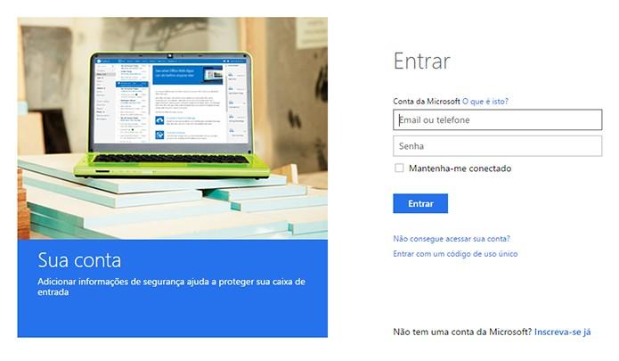 Insira os dados da sua conta da Microsoft. (Foto: Reprodução/Alessandro Junior)