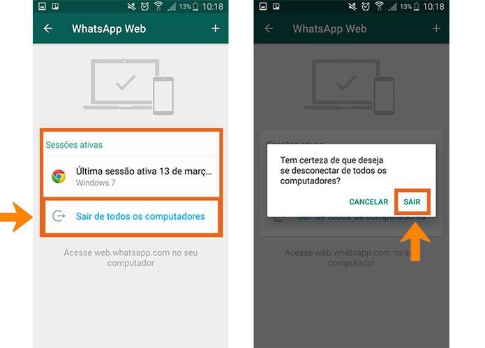 Desative as conexões do WhatsApp Web para evitar mensagens clonadas (Foto: Reprodução/Barbara Mannara)