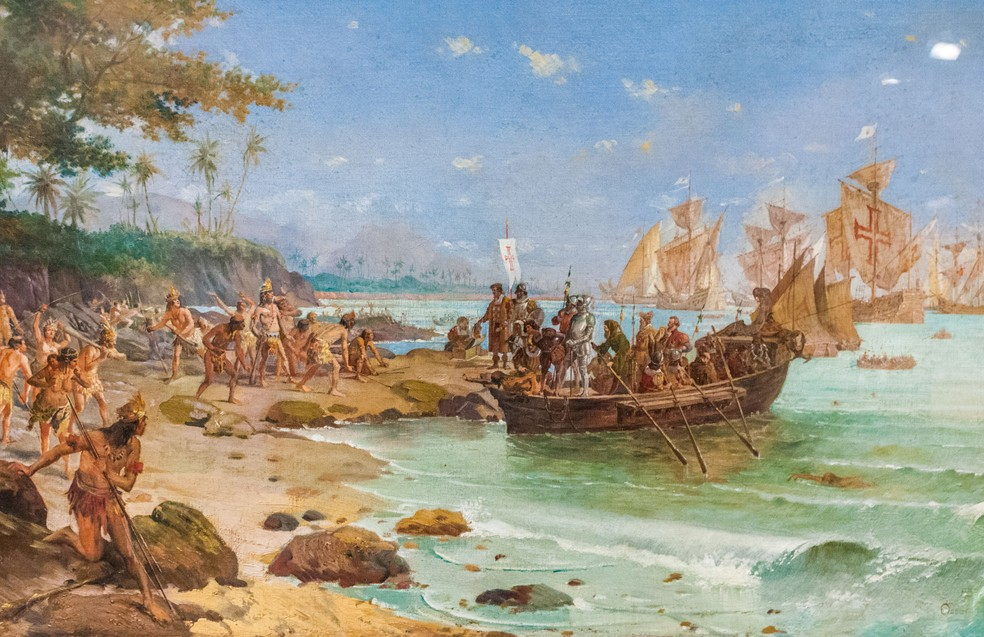 Desembarque de Pedro Álvares Cabral em Porto Seguro em 1500 (Foto: Oscar Pereira da Silva/Reprodução)