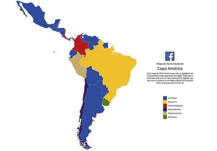 Jogadores mais populares em cada país conforme curtidas no Facebook (Foto: Divulgação/Facebook)