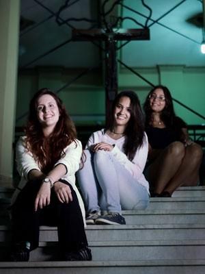 Fazer USP era 'sonho de criança', dizem Karina Caciola, Maria Clara Lemos e Ana Luísa Rocha (Foto: Caio Kenji/G1)