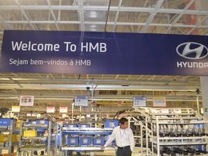 Confira imagens da linha de produção da fábrica da Hyundai em Piracicaba, inaugurada nesta sexta-feira (9) (Foto: Thomaz Fernandes/G1)
