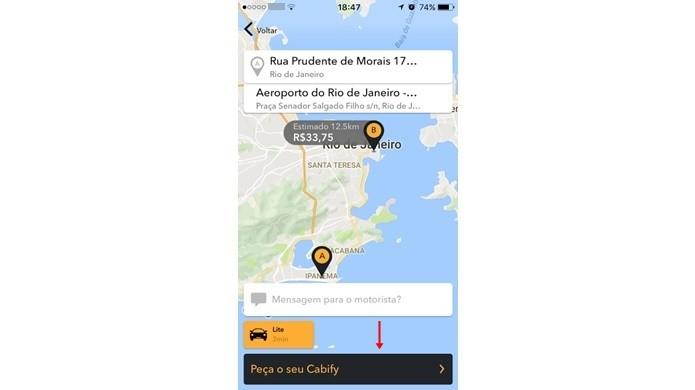 Finalize o pedido de um motorista particular no Cabify