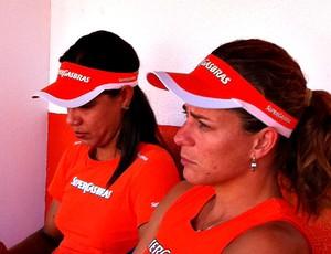 Juliana e Larissa em entrevista ao Globoesporte.com (Foto: Roberto Leite/Globoesporte.com)