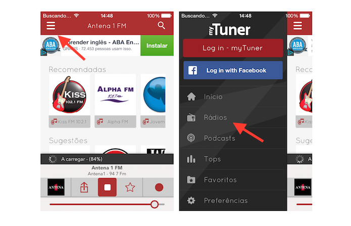 Acessando as rádios do aplicativo myTuner Radio Brasil no iPhone (Foto: Reprodução/Marvin Costa)