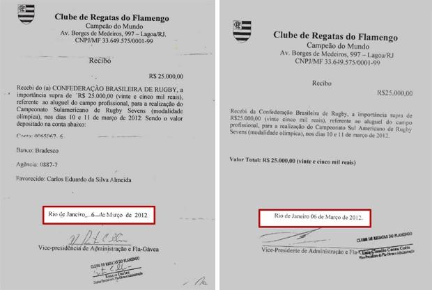 Recibos de pagamento de aluguel de campo do Flamengo (Foto  Reprodução) f24d0ee5c502e
