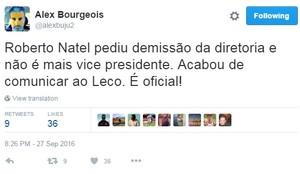 Alex Bourgeois, ex-CEO do São Paulo, publicou em sua conta informação sobre Natel (Foto: Reprodução)