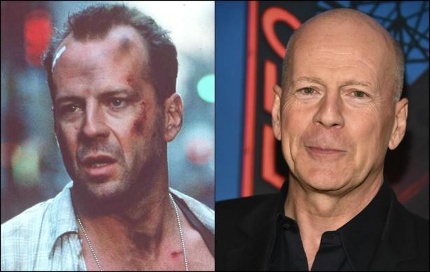 Bruce Willis tinha quase 40 anos no retrato à esquerda, feito no set de 'Duro de Matar — A Vingança' (1995). Hoje o ator norte-americano nascido na Alemanha tem 59. (Foto: Getty Images)