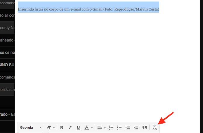 Função para remover a formatação de um texto no Gmail (Foto: Reprodução/Marvin Costa)