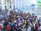 Servidores protestam na frente da Alerj contra pacote do governo
