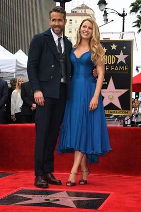 Ryan Reynolds e Blake Lively em Los Angeles, nos Estados Unidos (Foto: Mark Ralston/ AFP)