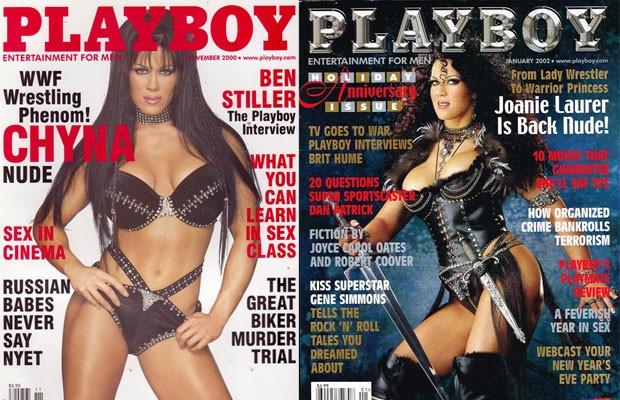 Joanie Laurer nas capas da 'Playboy' em novembro de 2000 e em janeiro de 2002 (Foto: Reprodução/ Internet)