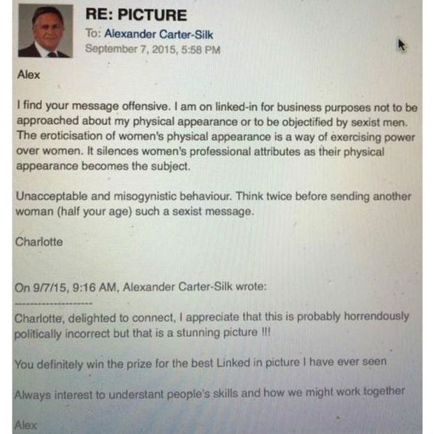 Print que Proudman postou no Twitter para mostrar a mensagem de Carter-Silk e a resposta dada por ela  (Foto: Reprodução/BBC)
