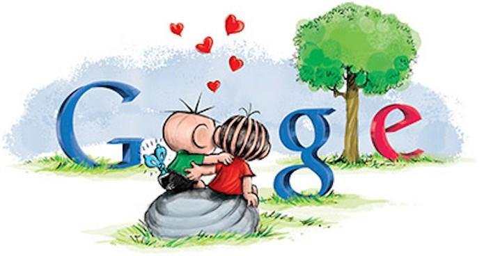 Turma da Mônica já teve Doodle do Dia dos Namorados com Mônica e Cebolinha (Foto: Reprodução/Google)