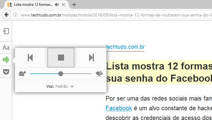 Agora o Firefox lê as páginas para você (Foto: Reprodução/Edivaldo Brito)