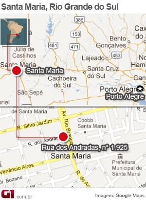 Mapa, boate, Santa Maria, incêndio (Foto: Editoria de Arte/G1)