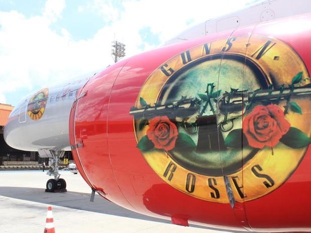 Avião da banda Guns N' Roses ficará estacionada no Aeroporto de Viracopos (Foto: Divulgação / Viracopos)