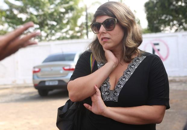 Vanessa Goulart, no velório de Flávio Guarnieri (Foto: Iwi Onodera/EGO)