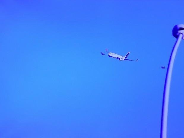 Avião chegando a Brasília com fogo olímpico (Foto: TV Globo/Reprodução)