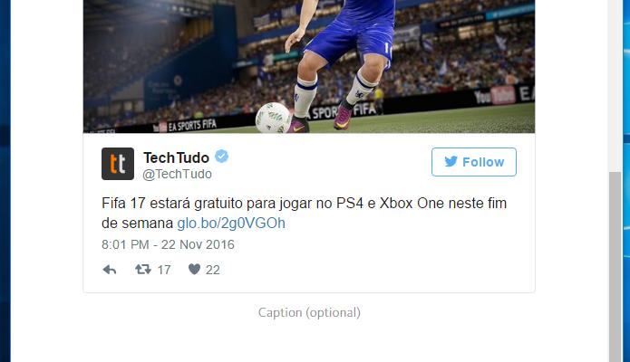 É possível incorporar tuítes ao Telegraph (Foto: Reprodução/Paulo Alves)